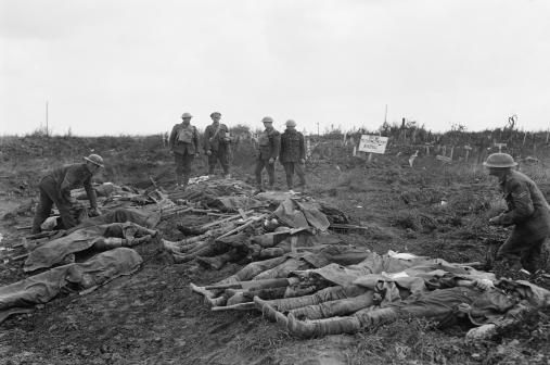 British dead waiting to be buried at the Windmill British Cemetery, near Monchy-le-Preux