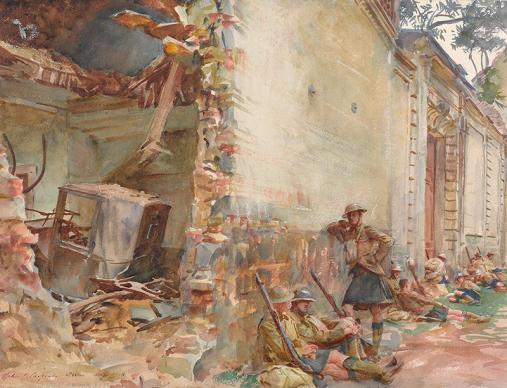 John Singer Sargent's painting, A Street in Arras. Soldiers leaning against a bomb-damaged building.