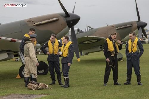 19 Squadron actors with Spitfires at Duxford Air Shows
