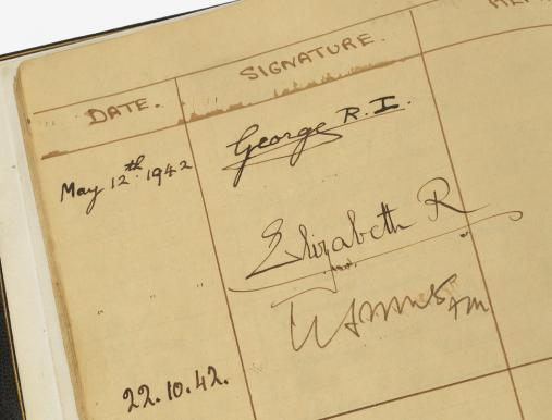 Cabinet War Rooms visitor book containing signature of King George VI