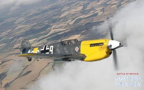 Hispano Buchon Yellow 7 above the clouds