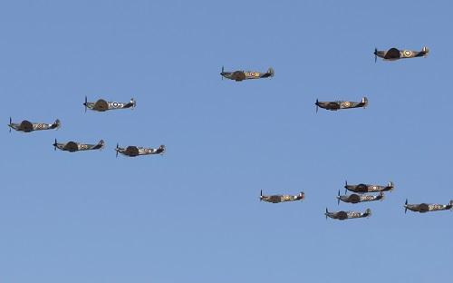Mass Spitfire formation at Duxford Air Shows