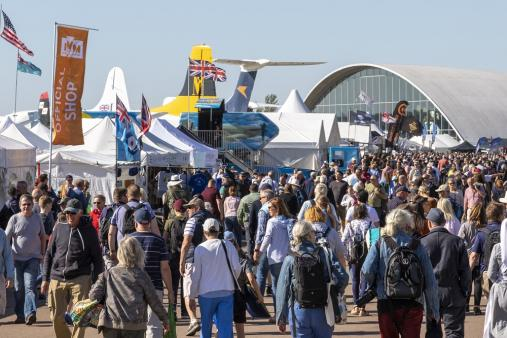 Crowds of visitors enjoy at Duxford Air Shows