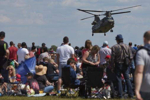 Chinook hovering in front of the crowd at Duxford Air Festival