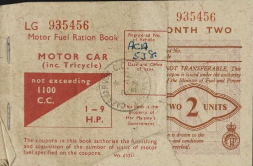 Petrol rationing card Imperial War Museums document licensing Second World War
