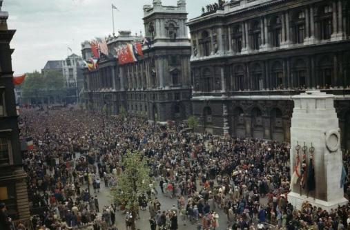 VE Day colour photograph crowds on Whitehall by cenotaph 1945 Imperial War Museums archive licensing