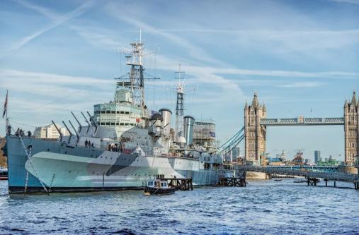 HMS Belfast set against Tower Bridge, London