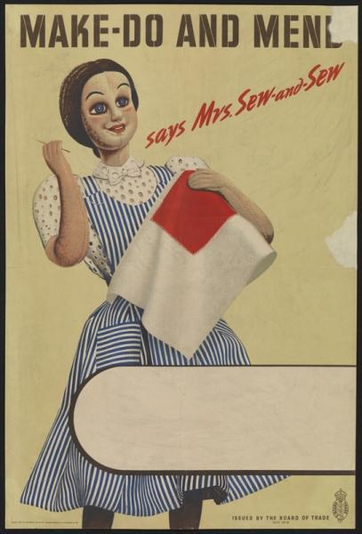 The character Mrs Sew and Sew, created to promote the Make Do and Mend campaign.
