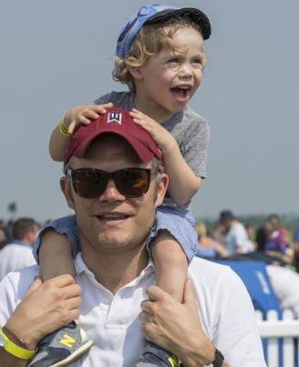Duxford Air Festival Man with boy on shoulders