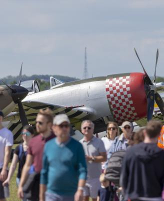 Visitors enjoying the Flightline Experience at Duxford Air Shows
