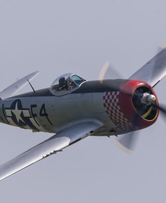 P-47D Thunderbolt against a grey sky