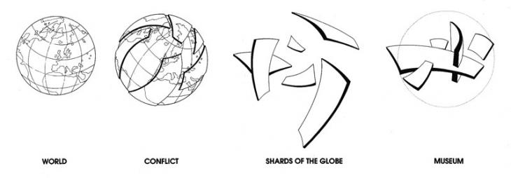 Libeskind used a shattered globe concept to create a symbol of the effects of war on land, sea and in the air.