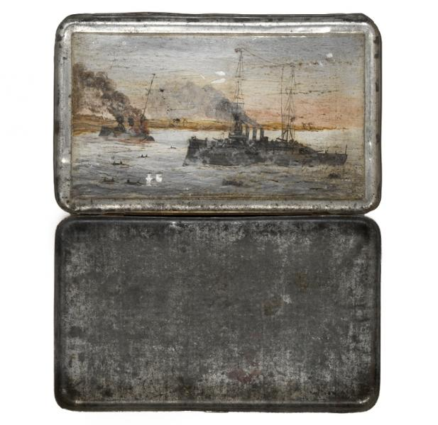 Scene from the Battle of Cocos painted inside R H Broome's tobacco tin