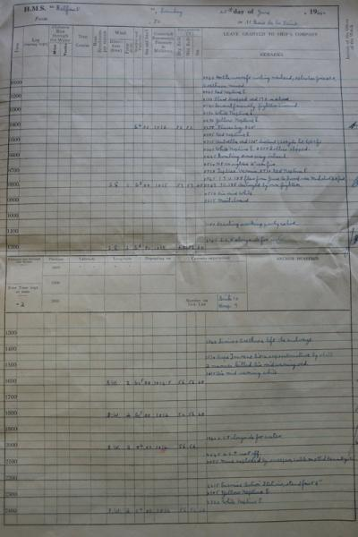 The entry in HMS Belfast's log from the morning of 25 June 1944.