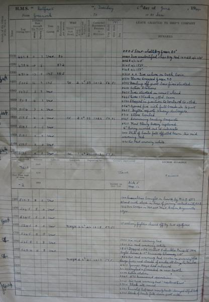 The entry in HMS Belfast's log from the morning of 6 June 1944.