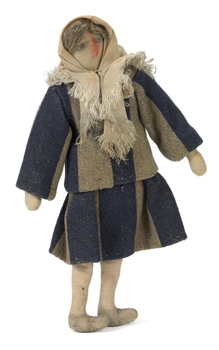 Rag doll of a female concentration camp prisoner, made from real prisoner's clothing