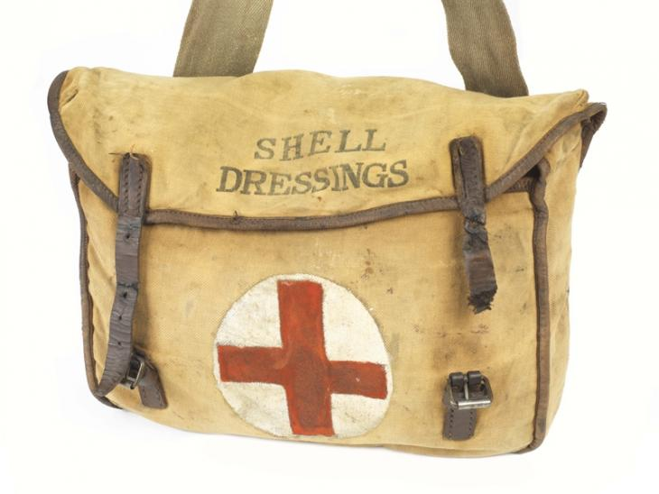 First aid haversack carried by Royal Army Medical Corps stretcher bearers.