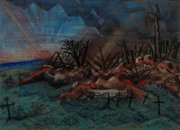 Sunset: Ruin of the Hospice, Wytschaete by Paul Nash