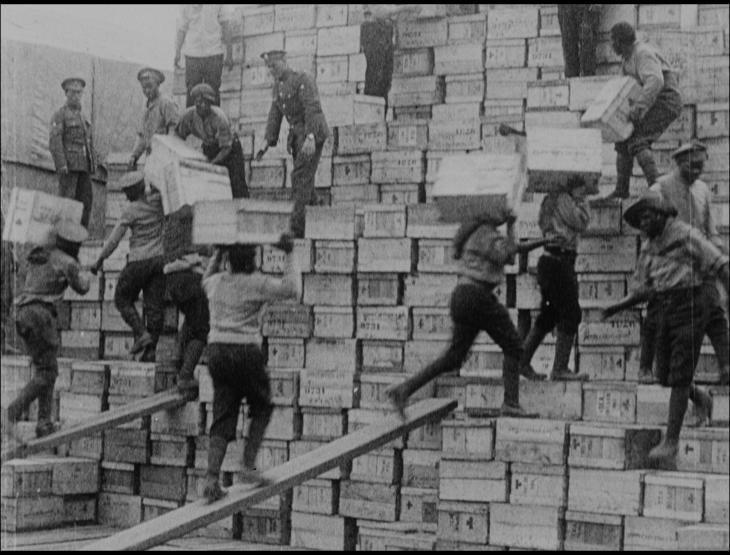South African Labourers balance as the work in Contingent in France, 1917.