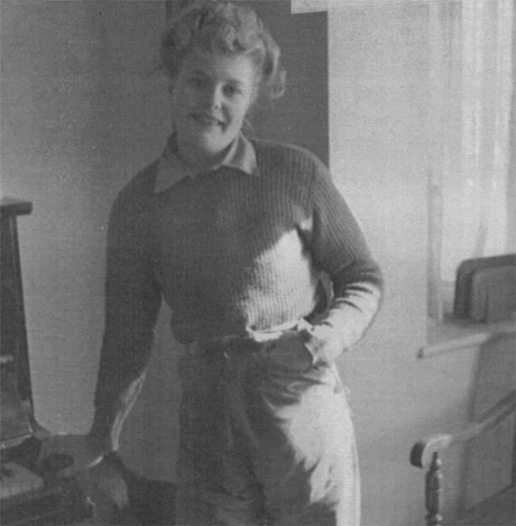 Joyce Digney (née Brookes) in her Women's Land Army work clothes, 1944. Photo courtesy of the Digney family.