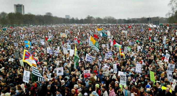 Anti-war protesters are seen massed in London's Hyde Park, where the 15 February 2003 demonstration culminated.