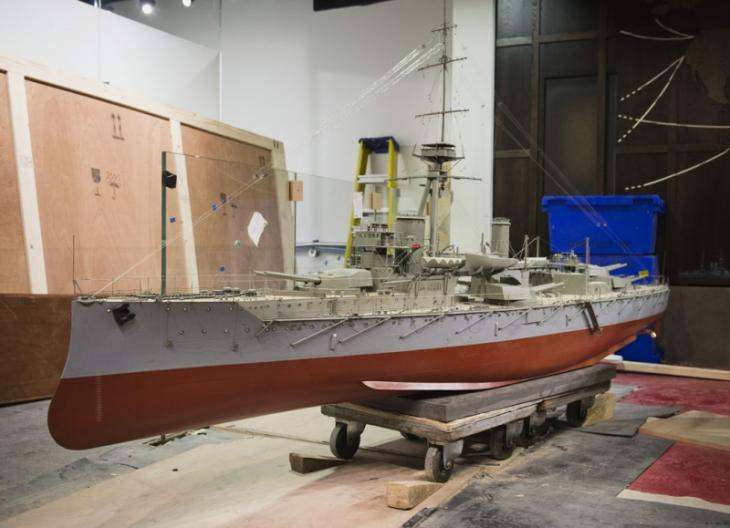 The Restored HMS Hercules Model, Shortly Before Its Installation In The  First World War Galleries.