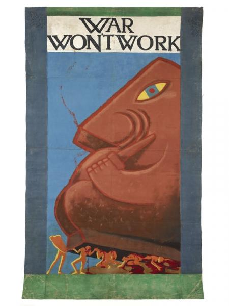 'War Won't Work' banner likely to have been designed by John Hargrave of the Kibbo Kift movement. © The Kibbo Kift Foundation/Courtesy of the Museum of London.