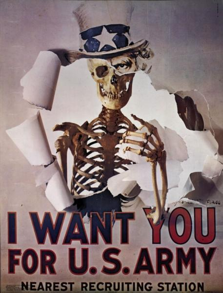the image fills the whole, with red and black integrated title text across the bottom quarter, and black additional text along the bottom edge. image: A revision of the First World War recruiting poster by J. M. Flagg that shows Uncle Sam beckoning the viewer with the caption 'I WANT YOU FOR U.S. ARMY'.