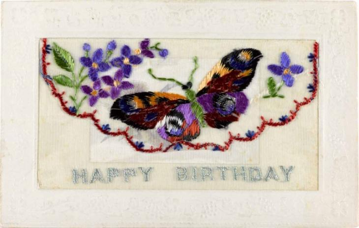 Silk postcard embroidered with a butterfly, K.08/535.