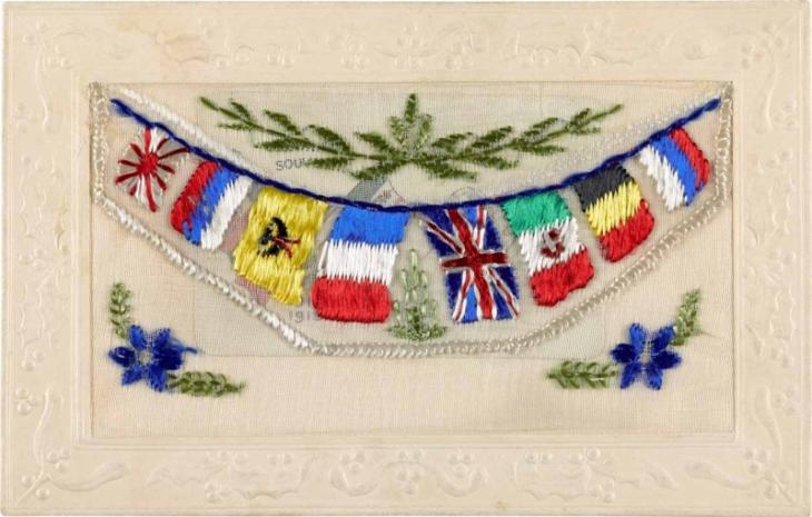 A silk postcard embroidered with flags, K.08/1878-2.