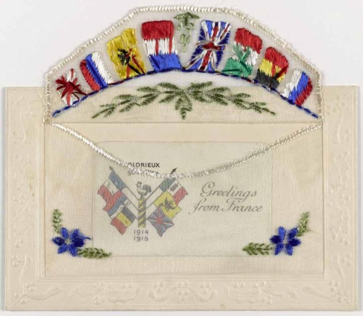 A silk postcard embroidered with flags, with a secret pocket, K.08/1878-2.