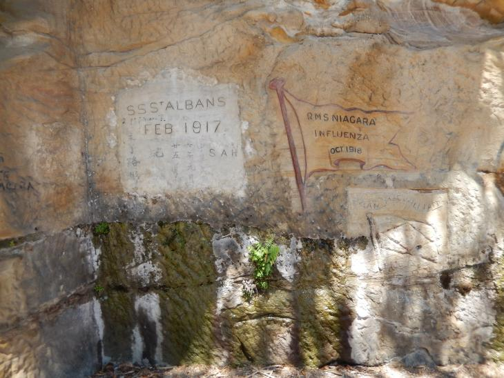 Engravings on sandtone at the North Head Quarantine site, Sydney