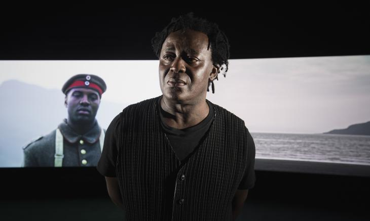 John Akomfrah in front of Mimesis: African Soldier