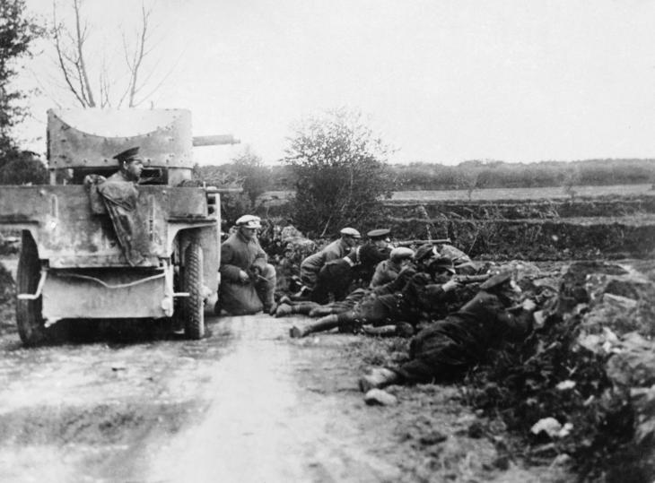 A Rolls Royce armoured car supporting the men of the Royal Irish Constabulary during an IRA ambush in County Clare.