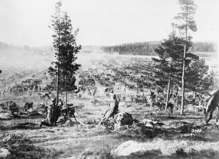 View of a prisoner Camp at Lahti, Finland, for about 20000 Red Guards with wives and children and about 6000 horses and waggons.