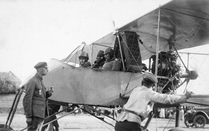 General Sidorin, the Commander of the White Russian Don Army, getting ready for a reconnaissance flight in a Voisin III pusher biplane, summer 1919.