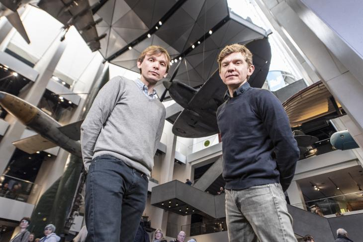 Mercury Prize nominated Field Music in IWM London's iconic Atrium. From left to right: David and Peter Brewis