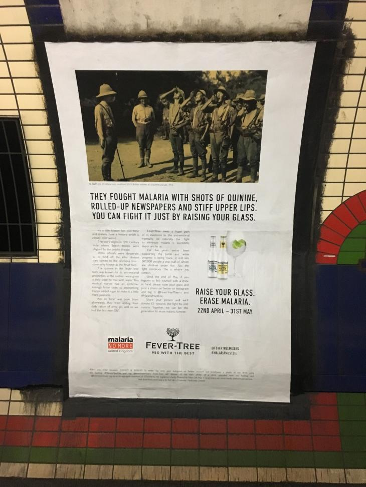 Fever Tree London Underground advert featuring photograph Imperial War Museums archive