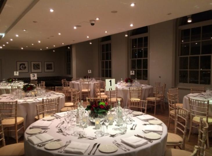 Park Room at IWM London set up with round tables set for dinner during an event