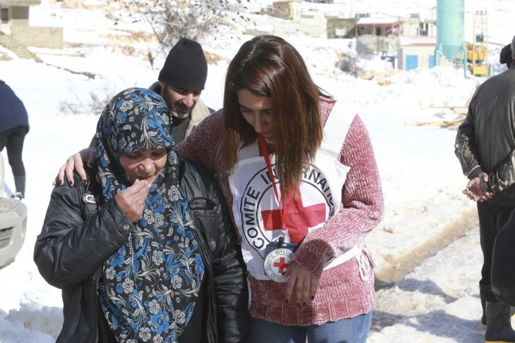 Lebanon, Baalbek district, Arsal refugee camp. Aid workers.