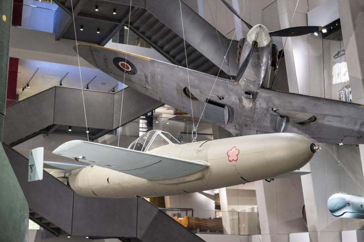 Ohka kamikaze aircraft is suspended in IWM London atrium