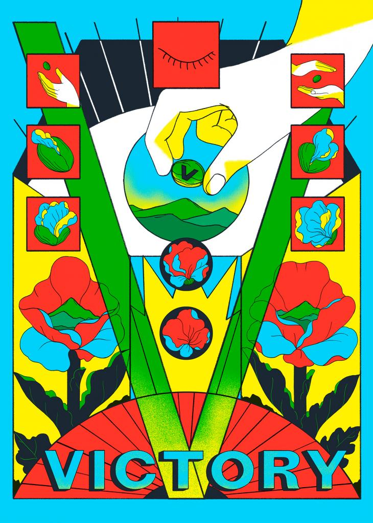 Cristina Daura, illustrator. Colourful Victory 75 artwork featuring hands placing a seed in the ground