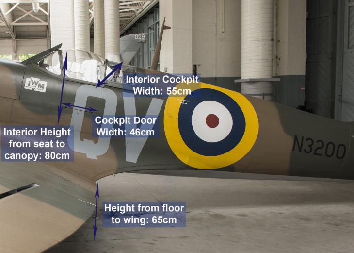 A diagram showing the dimensions of the cockpit of a Spitfire for reference when booking the IWM experience 'In the Cockpit: Spitfire'