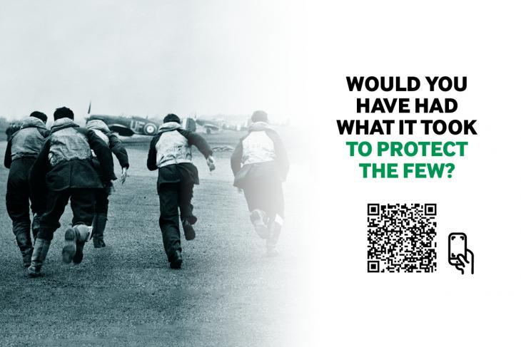 Poster image for the Observer Corps experience featuring a QR code to launch the app on mobile.