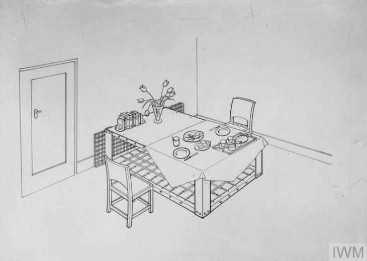 a line drawing of a Morrison shelter in use as a table during the day, with food, cutlery and flowers laid out. Clearly visible are the steel 'mattress' and, behind the 'table', the steel mesh sides which would prevent rubble falling into the shelter when fixed between the base and top.