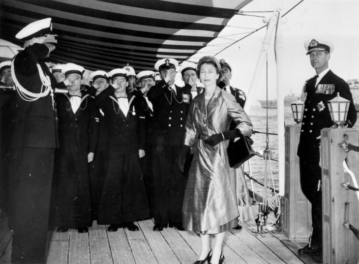 HM The Queen and HRH The Duke of Edinburgh arriving on board HMS GLASGOW, Flagship of Admiral the Earl Mountbatten of Burma.